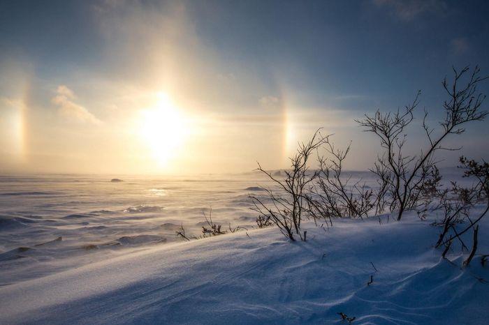 Редкое явление северное сияние