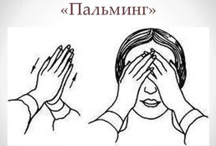 Упражнения для глаз Пальминг