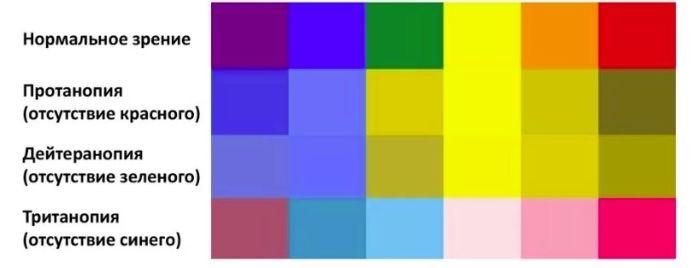 Виды цветовой слепоты